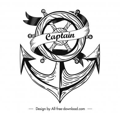 sea navigation icon retro anchor steering wheel sketch