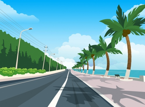 sea road scenery painting multicolored modern design