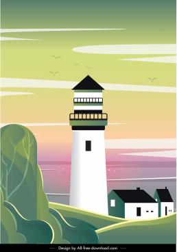 sea scene background lighthouse sketch colorful flat design