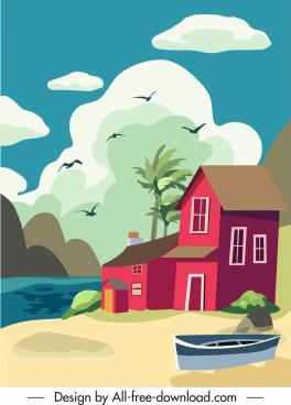 sea scene painting house birds sketch