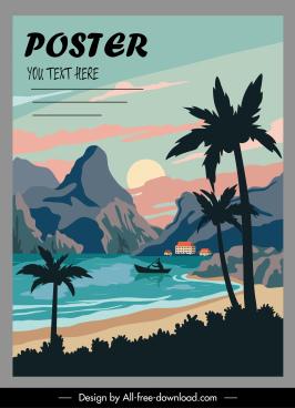 sea scenery poster colorful classical handdrawn design