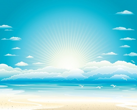 seaside landscape background bright shiny colored decor