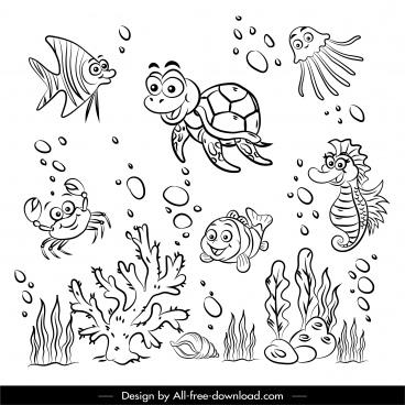 sea species icons black white handdrawn sketch