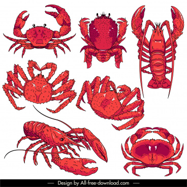 sea species icons red handdrawn sketch classical design