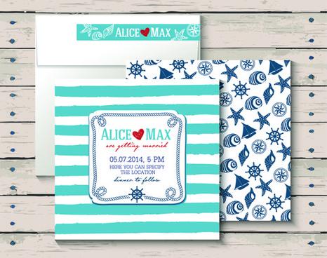 sea style wedding invitation cards vector