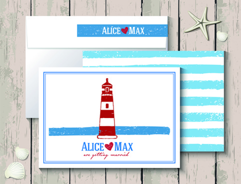 sea style wedding invitation cards vector
