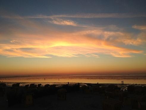sea sunset clouds