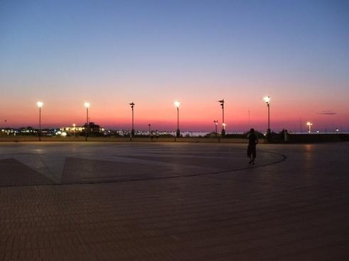 sea sunset lights