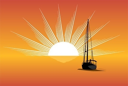 sea sunset sailboat silhouette vector