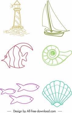 sea symbol icons handdrawn sketch