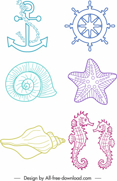 sea symbols icons handdrawn anchor wheel species sketch