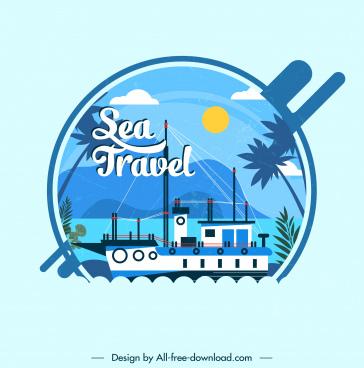sea travel card background ship decor colorful flat