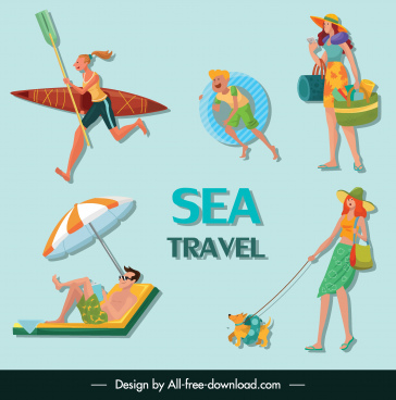 sea travel icons joyful people sketch cartoon characters