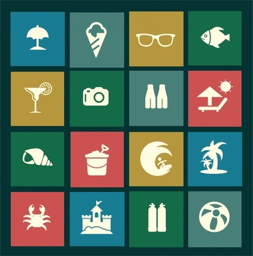 sea travel isolated icons in flat colored design