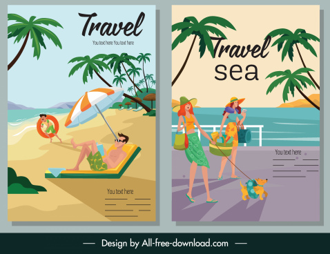 sea travel poster colorful cartoon sketch
