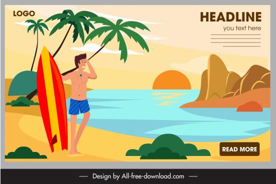 sea vacation poster man surfboard sketch cartoon design