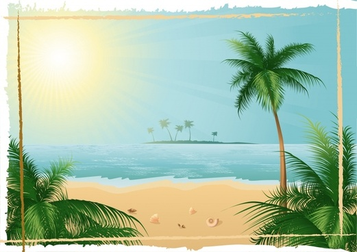seaside background colorful modern coconut sunlight decor