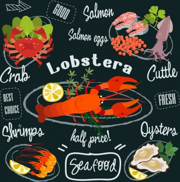 seafood advertisement colorful icons calligraphy decoration