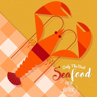 seafood advertisement prawn icon classical flat design