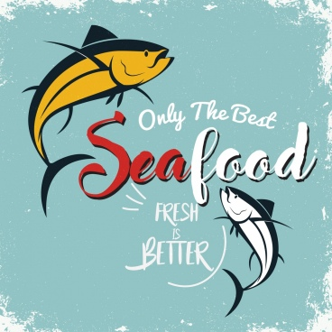 seafood advertising banner fish icon retro design