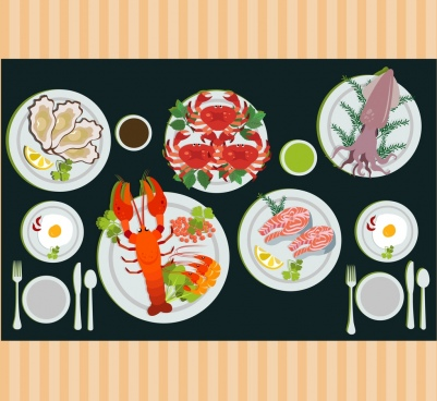 seafood advertising various dish icons decoration