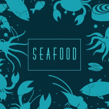 seafood background blue marine species icons