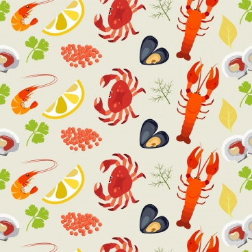 seafood background multicolored repeating marine species icons