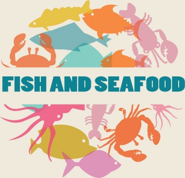 seafood background multicolored silhouette various flat icons