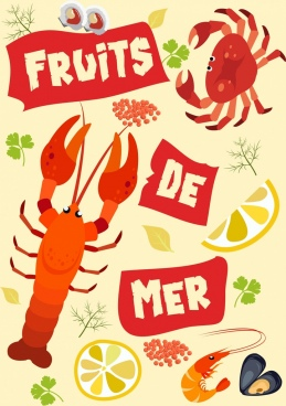 seafood background multicolored species icons decoration