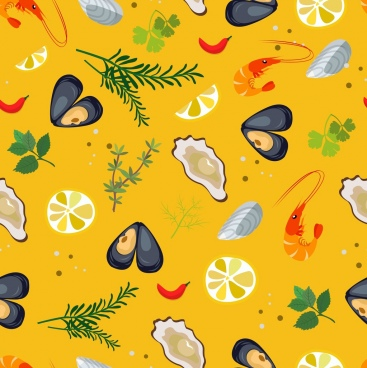 seafood background oyster shrimp ingredients icons repeating design
