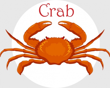 seafood background red crab icon decor