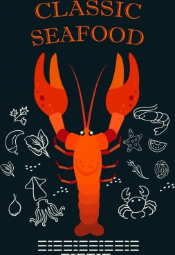seafood background red lobster icon ingredients sketch