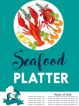 seafood banner dish crab lobster prawn icons decor