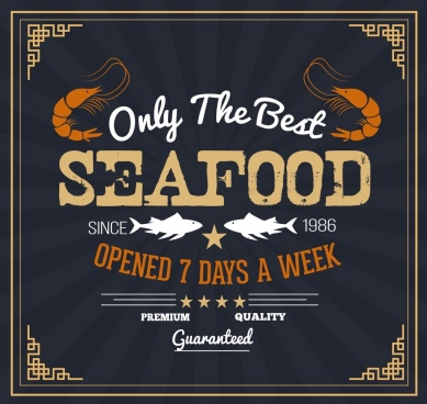seafood banner template shrimp fish icons classical design