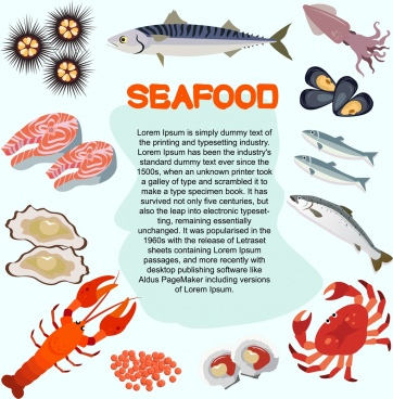 seafood banner various colored species icons decoration