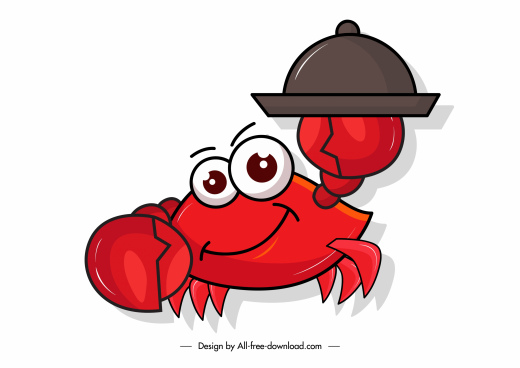 seafood design element stylized crab sketch