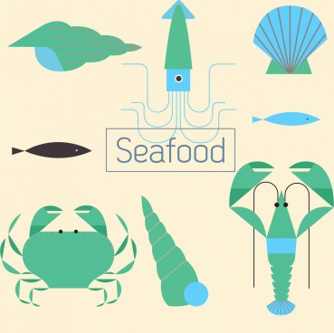 seafood design elements blue green flat sketch