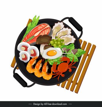 seafood hot pot icon colorful flat design