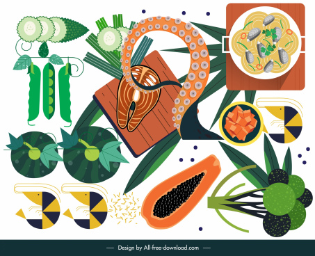 seafood hotpot design elements colored flat ingredients sketch