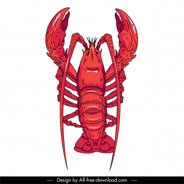 seafood icon lobster sketch red handdrawn design