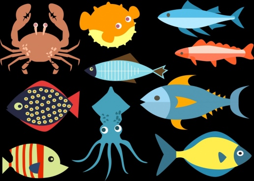 seafood icons collection dark colored flat design