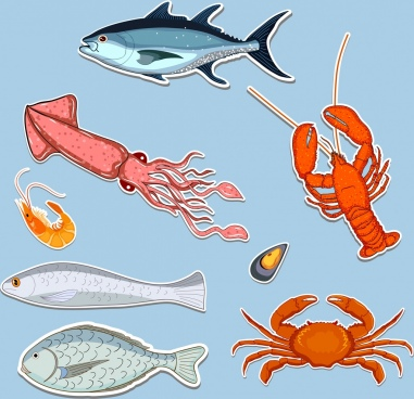 seafood icons collection multicolored paper cut decor