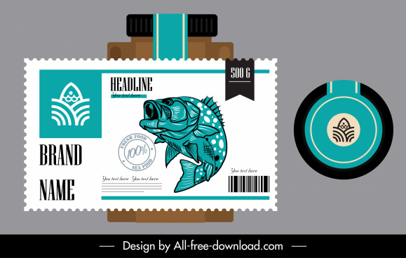 seafood label template flat design classic handdrawn decor