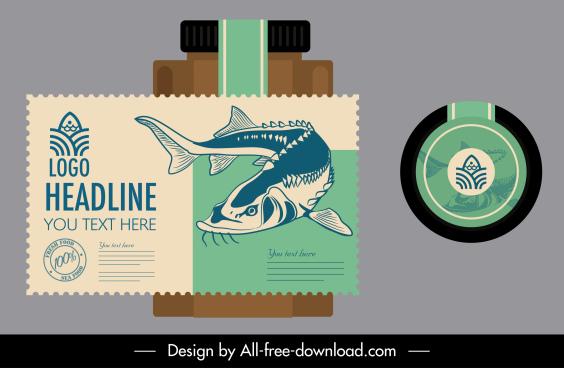 seafood label template handdrawn fish sketch vintage design