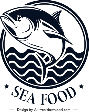 seafood logo fish sea icons black white classical