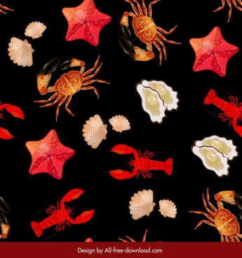 seafood pattern starfish oyster crab shell lobster icons