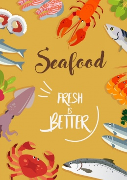 seafood poster colored marine species icons decor
