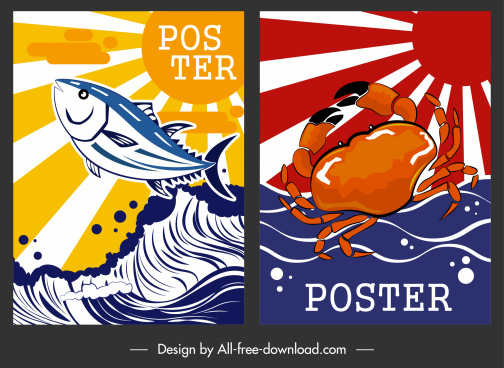 seafood poster fish crab icon colorful classical decor