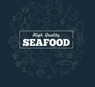 seafood promotion banner marine species sketch background