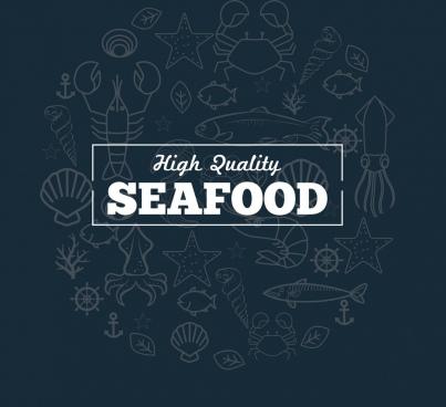 seafood promotion banner marine species sketch background